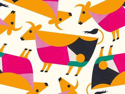 Cattle pattern geometric pattern animal modern texture farm cattle illustration cow