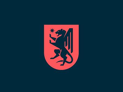 Everhouse animal branding logo illustration wing griffon lion badge crest shield heraldry