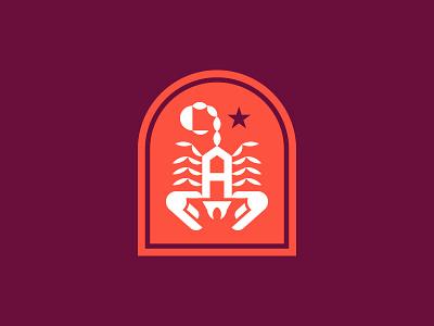 Scorpion A branding shield logo a crest badge scorpion