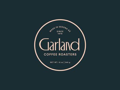 Garland Coffee seal badge roasters lockup typography type branding logo packaging coffee