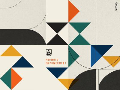 Femap shape non profit human geometric illustration typography abstract pattern branding logo