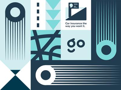 Go Car Insurance illustration typography wallet branding logo modern movement geometric pattern insurance car