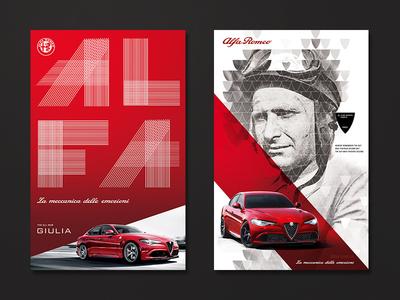 Alfa Romeo (Giulia) badge ad auto illustration photo logo branding typography alfa car