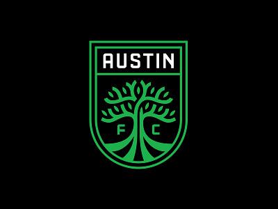 Austin FC typography mls soccer tree austin texas austin crest badge branding logo