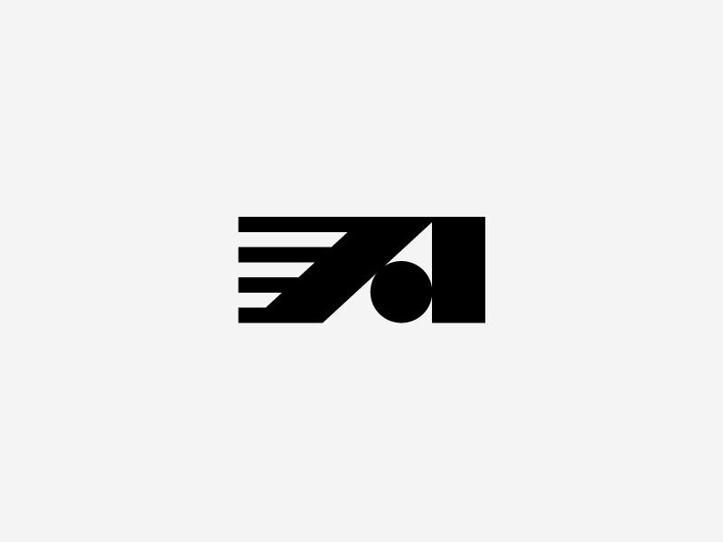 A symbol mark fast motion a geometric modern branding typography logo