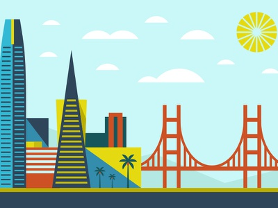 Go Insurance (San Francisco) billboard landscape sun golden gate bridge golden gate bayarea san francisco design modern illustration branding typography