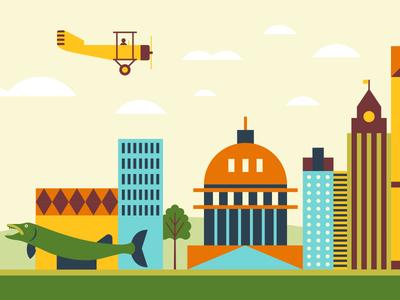 Go Insurance (Wisconsin) branding sky city hall fish billboard city plane wisconsin geometric modern illustration typography logo