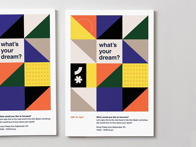 One Spark pattern poster geometric modern illustration branding typography logo