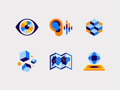 VidMob Icons video sight sound ear modern 3d eyewear geometric shape eye map icon map illustration
