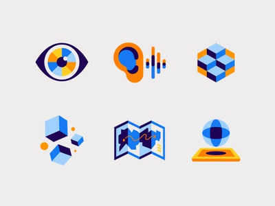 VidMob Icons video sight sound ear modern 3d eyewear geometric shape eye map icon map illustration