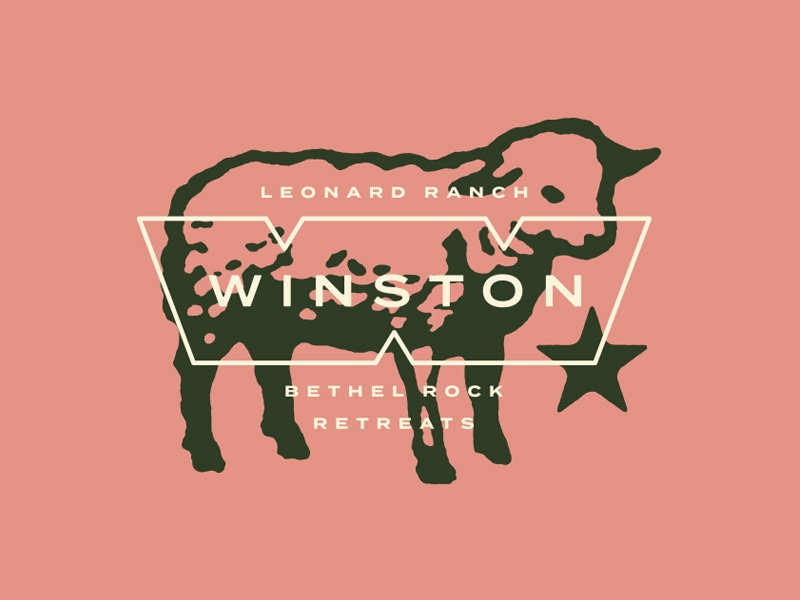Winston (Bethel Rock Retreats) texas animal star symbol letter w sheep lockup badge illustration branding typography logo
