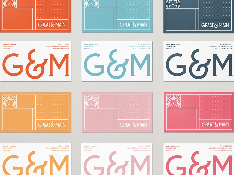 Great & Main III stationary business card badge illustration branding typography logo