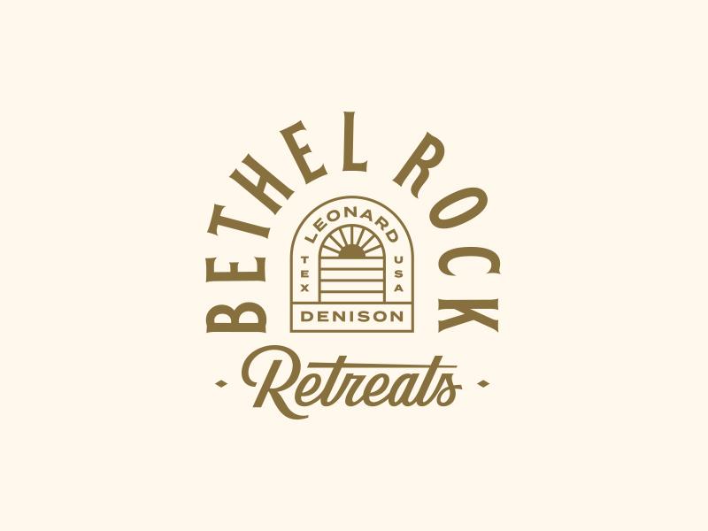 Bethel Rock Retreats sun texas script lockup badge illustration branding typography logo