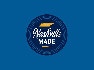 Nashville Made script seal nashville lockup badge illustration branding typography logo