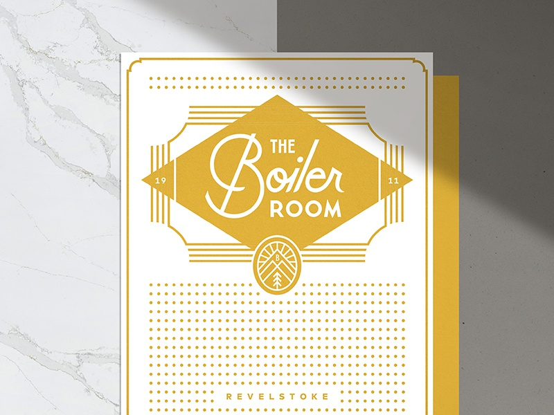 The Boiler Room (Menu) bar script print pattern lockup badge illustration branding typography logo
