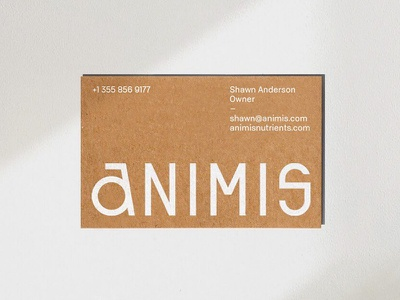 Animis Nutrients Business Card stationary business card print modern branding typography logo
