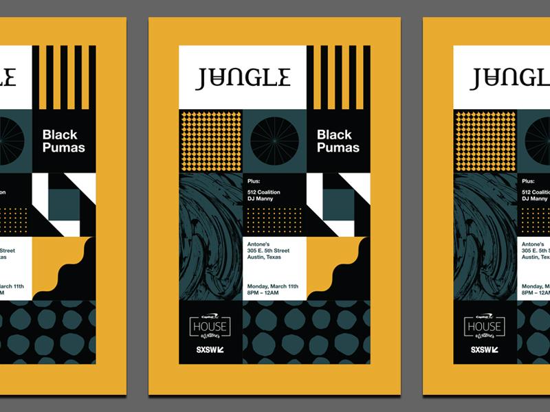Jungle SXSW Poster band pattern sxsw jungle music austin poster geometric modern typography logo