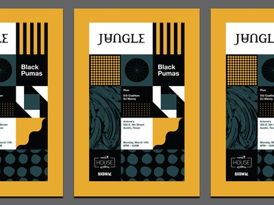 Jungle SXSW Poster band pattern sxsw jungle music austin poster geometric modern typography logo