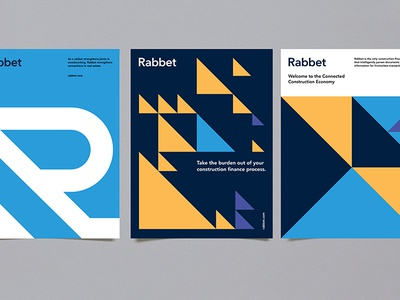 Rabbet Posters design austin lockup pattern construction poster geometric modern illustration branding typography logo