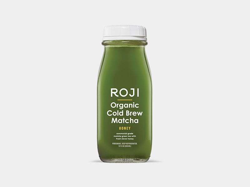 ROJI Cold Brew Matcha bottle honey matcha cold brew tea packaging illustration branding typography logo