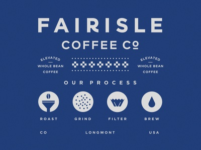 Fairisle Coffee Co beverage packaging identity pattern process coffee colorado lockup badge illustration branding typography logo