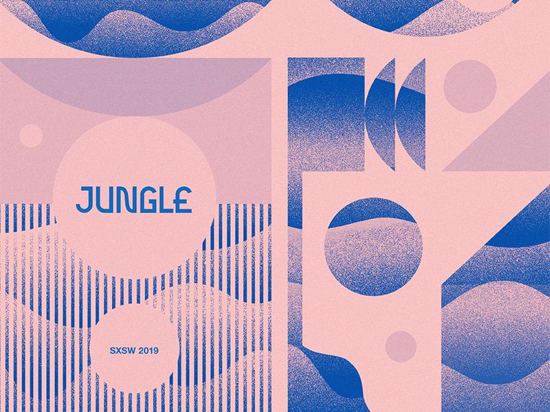 Jungle SXSW design sxsw texture music jungle austin poster pattern geometric modern illustration branding typography logo