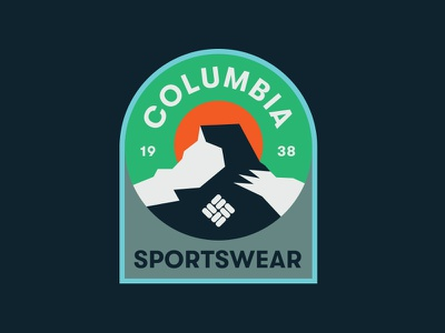 Columbia apparel hiking camping seal mountains nature outdoors crest badge illustration branding typography logo