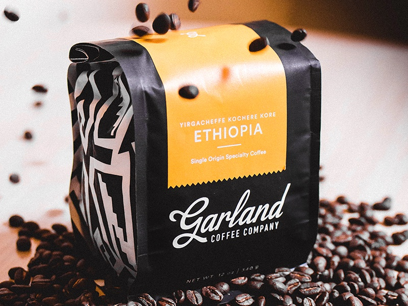 Garland Coffee Co. drink southwest script label bag packaging coffee pattern illustration branding typography logo