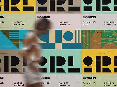 InVision IRL design event print conference pattern geometric lockup modern badge illustration branding typography logo