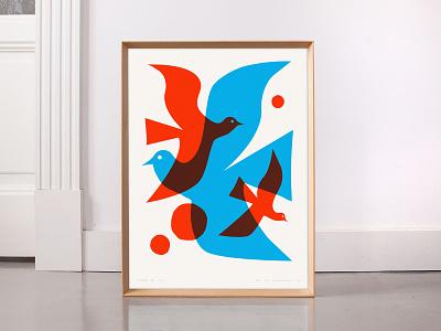 Bird Trio Poster for Sale design screenprint overlay 3 bird sale print poster illustration typography logo