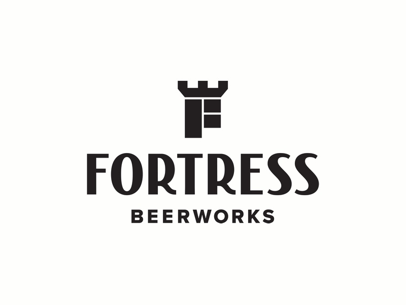 Fortress Beerworks logo identity beer branding alcohol houston beerworks logotype typography lettering f brewery logo lockup brewery beer