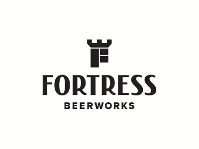 Fortress Beerworks logo identity beer branding alcohol houston beerworks logotype typography lettering f brewery logo lockup brewery beer
