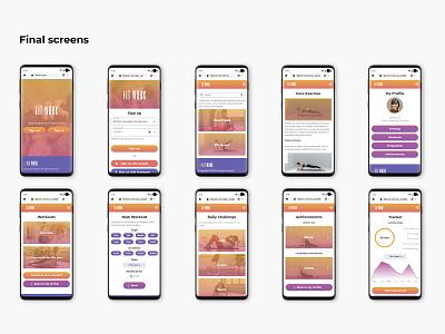 FitWork mobile screens sign up logo design product design fitness fitness app mobile design mobile ui color palette ui design ux design user experience user interface ux ui