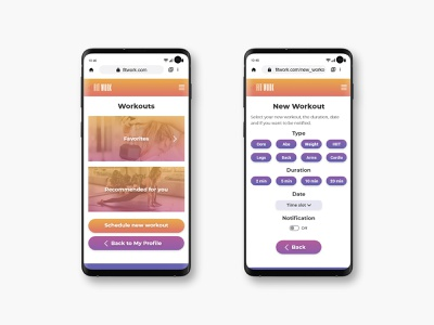 FitWork: scheduling a new workout product design fitness design user interface user experience ui design mobile ui mobile app design mobile design fitness app color palette uxdesign uidesign uiux ui