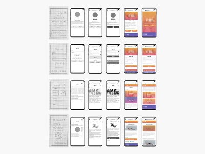 FitWork wireframes evolution product design user interface user experience low fidelity high fidelity fitness app fitness mobile app design mobile design mobile ui mobile ui design ux design uidesign uxdesign ux  ui uxui ux