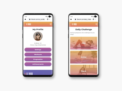 FitWork's User Profile and Daily Challenge screens userinterface user profile uxui profile design profile page profile uxdesign uidesign mobile ux ui product design mobile ui color palette user interface user experience ui design mobile design fitness app fitness