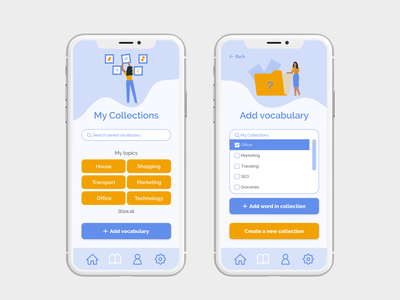 Wordly app - Collect new vocabulary function app language learning learning app color palette illustration inclusivity inclusive design collection ux ui design flashcards language app mobile app design mobile ui user interface user experience ui design mobile design product design