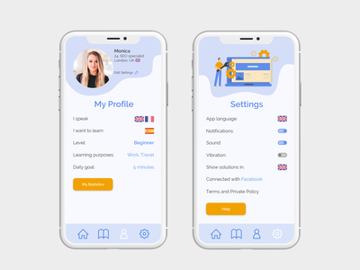 Learning app - Profile and Settings language learning ux ui colors settings settings ui illustration user interface user experience ui design ux design product design app design app ui profile design learning app language app app