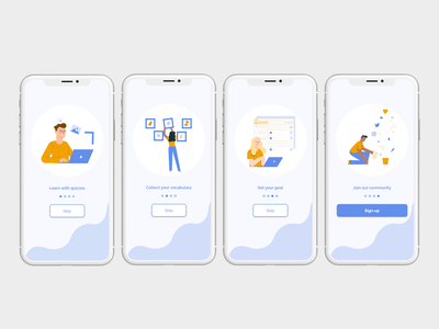 Onboarding - Lenguage learning app uxdesign uidesign uiux game design app app design ux ui mobile design language learning learning app language app ux design ui design design illustration mobile app design product design user interface user experience