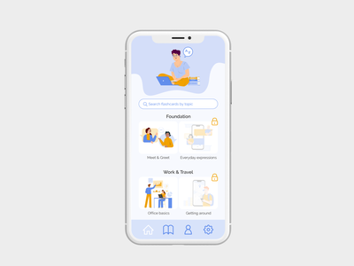 Learning app - Home screen illustrations learning app app design language learning language app ux ui home screen home mobile app design mobile design ux design ui design user interface user experience product design