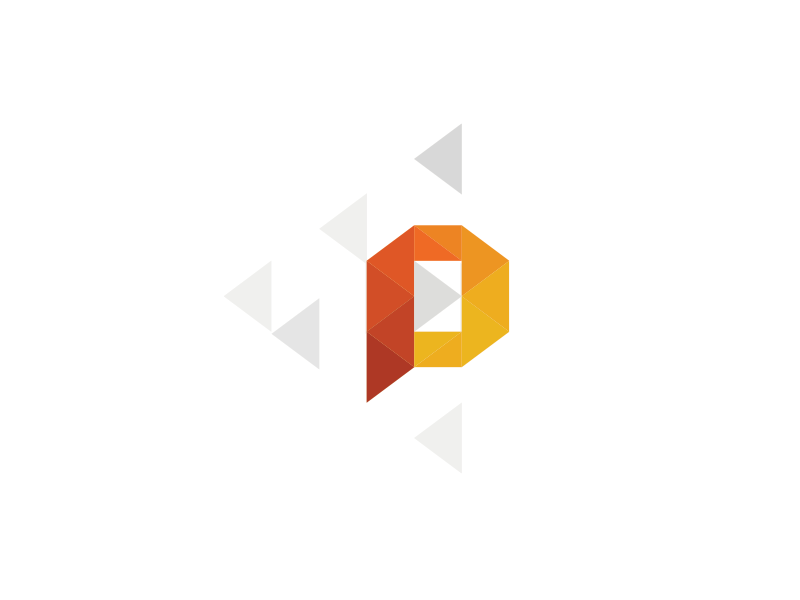 P logo brand identity mark p polygon triangle gradient warm