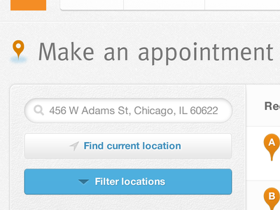 Scheduling ui search appointment map location noise texture gray