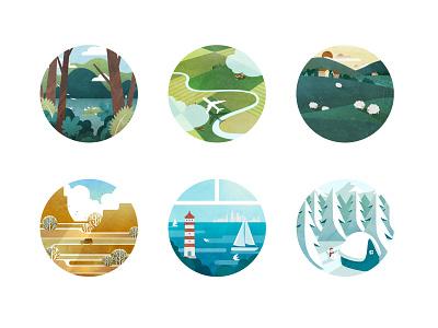 Landscape icon flat illustration scenery landscape illustration icon ui vector illustration