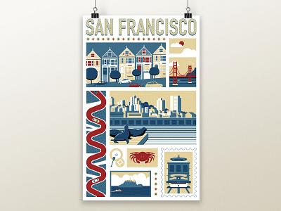San Francisco Poster Art poster design flat illustration san francisco vector illustration vector poster art illustration