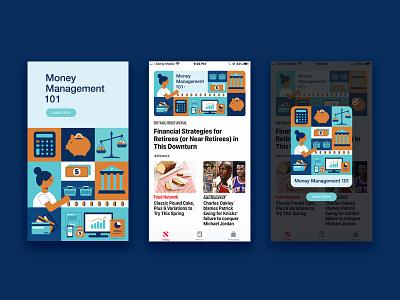 Money Management Illustration financial banner design pop-up mobile ui ui money management vector flat illustration illustration