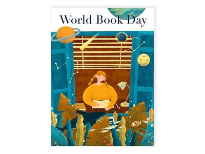 World Book Day Illustration fish digital illustration imagination universe reader digitalart space sea books reading book illustration