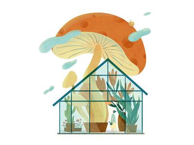 Garden of Wonderful Discoveries plant illustration plants childrens illustration childrens book kidlitart kidlit greenhouse dreamy mushroom magical garden digital illustration digital art illustration