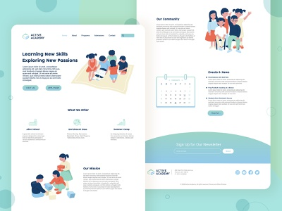 active academy landing page template school website clean landing page web illustrations illustraion ui design landing page ui academy education website website design landing