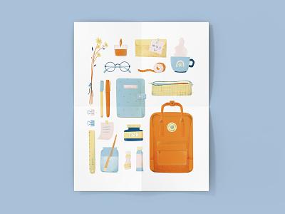 My Everyday Things Illustration drawingart art print art supplies backpack photoshop digital illustration digitalart flat illustration illustration