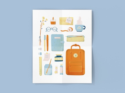 My Everyday Things Illustration drawingart art print art supplies backpack photoshop digital illustration digitalart flat illustration illustration